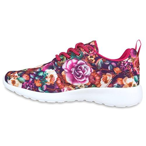 Damen Laufschuhe | Modische Sportchuhe| Sneaker Profilsohle |Glitzer Pailletten Sneakers | Runners Snake Blumen Lila Blumen
