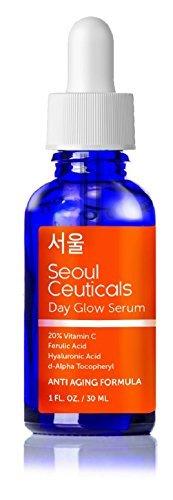 Seoul Ceuticals Koreanische Hautpflege - 20% Vitamin C, E, Ferulisches Serum mit Hyaluronsäure liefert starke Anti-Aging, Anti-Falten-Ergebnisse. 1 OZ (1 OZ) (Vitamine Hautpflege)