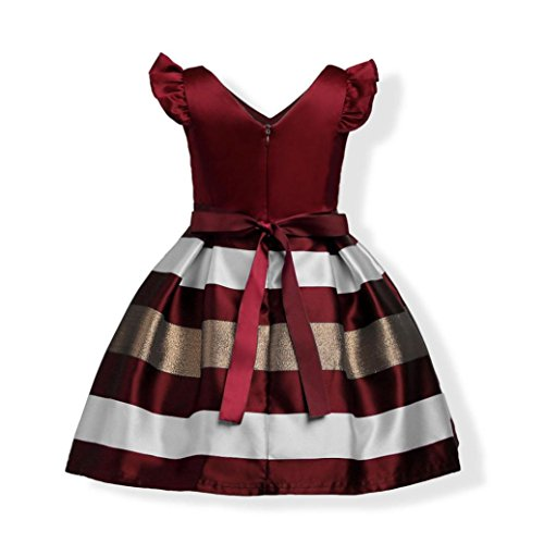Muium Toddler Baby Girls Bowknot Wedding Bridesmaid Pageant Princess Dress Outfits For 3-9 Years Old