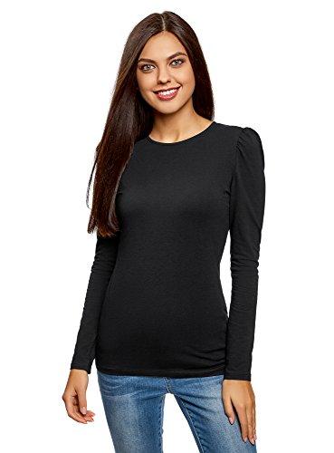 oodji Ultra Damen Tagless Langarmshirt Aus Baumwolle, Schwarz, DE 38/EU 40/M (Rundhalsausschnitt T-shirt Tagless)