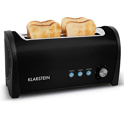 Klarstein Cambridge • Toaster • Doppel-Langschlitz-Toaster • 4-Scheiben-Toaster • Edelstahl • Brötchenaufsatz • 6-stufig einstellbarer Bräunungsgrad • Auftau-Funktion • Aufwärm-Funktion • Brotlift-Funktion • Abbruch-Taste • 1400 Watt • schwarz