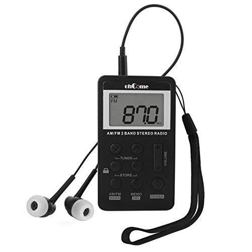 ohCome Pocket AM FM 2 Band Stereo Radio Mini DSP Digital Tuning Receiver mit LCD Bildschirm Wiederaufladbare Batterie und Kopfhörer für Walking (Schwarz)