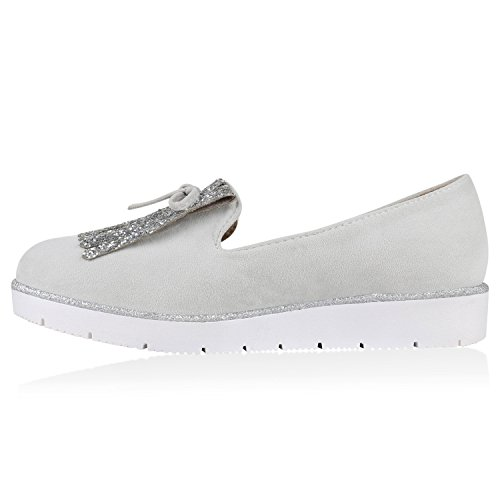 Damen Lack Slipper Loafers Metallic Quasten Schuhe Profilsohle Grau Schleife Fransen