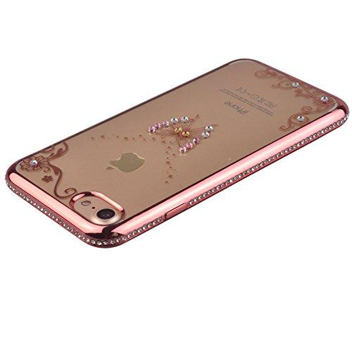 Voguecase® Pour Apple iPhone 7 4,7, TPU avec Absorption de Choc, Etui Silicone Souple, Légère / Ajustement Parfait Coque Shell Housse Cover pour iPhone 7 4,7 (Or frame-pendentif)+ Gratuit stylet l'écr Pink frame-diamant papillon