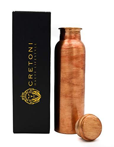 Cretoni Kracher-Serie Pure Copper Wasserflasche Glatt Glatt Leak Proof Design Perfekte Ayurveda Kupfergefäß für Sport, Fitness, Yoga, natürliche Nutzen für die Gesundheit (900 Milliliter / 30 Ounce)
