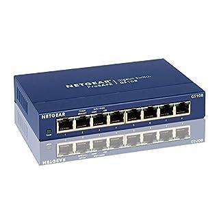 Netgear GS108GE 8-Port Unmanaged Gigabit Kupfer Switch (bis zu 1000 MBit/s Datenübertragung, Plug-and-Play, lüfterlos, Metallgehäuse)