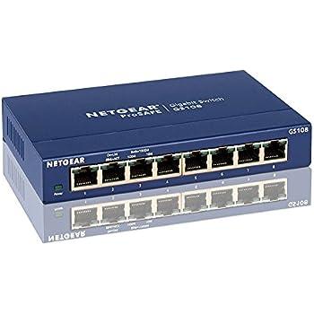 Netgear GS108GE Unmanaged Gigabit Kupfer Switch (8-Port, Plug-and-Play, bis zu 1000 MBit/s Datenübertragung, Lüfterlos, Metallgehäuse) blau