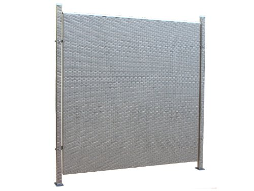 Prime Tech Poly-Rattan Sichtschutz / Zaun, Einzelelement 180 cm in anthrazit / grau