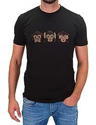 DSguided Herren Shirt WhatsApp Emoji Affe Smiley Icon Äffchen Print T-Shirt Drei Affen