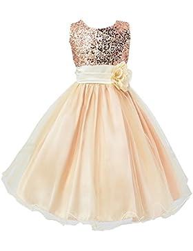 LPATTERN Elegante Vestido Flores Sin Mangas Verano Ceremonia Fiesta Princesa Casual Infantiles Boda Lazo Brillante