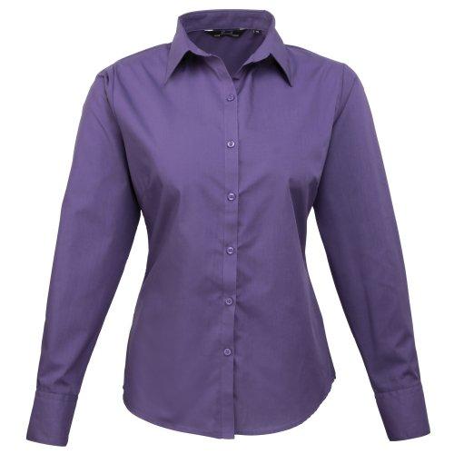 premier-womens-ladies-poplin-long-sleeve-blouse-plain-work-shirt-10-purple