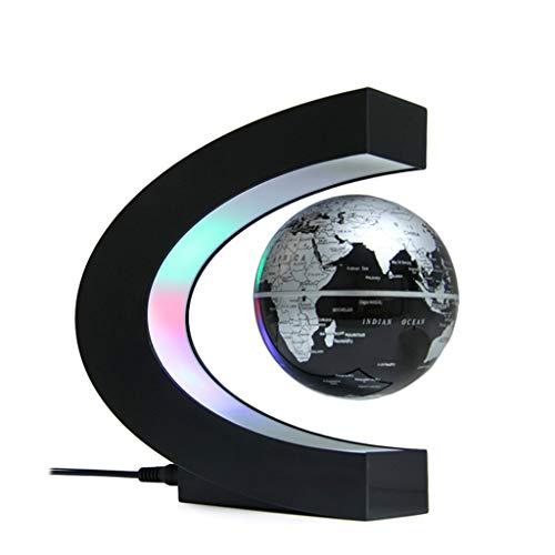 Schlummerleuchten,Neuheit C Form Led Weltkarte Floating Globe Magnetschwebebahn Licht Antigravity Magie/Novel Lampe Geburtstag Home Dezember Nacht Lampe