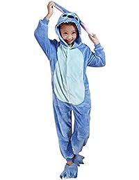 Moollyfox Pijamas Ropa de Dormir Disfraz de Animal Cosplay Para Niños Azul Stitch 115