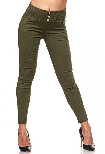 Bundes-olive Bundes-olive (Damen Treggings Hoher Bund Stretch Hose Skinny Jeggings D2117, Farben:Olive, Größe Damen:L/XL)