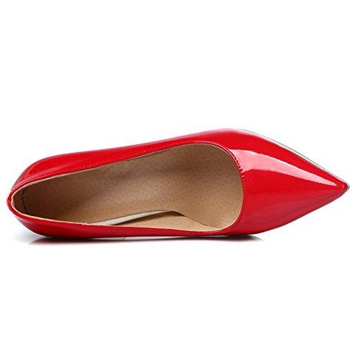 TAOFFEN Femmes Classique Bout Pointu Escarpins Bas A Enfiler Chaussures Aiguille SM Rouge