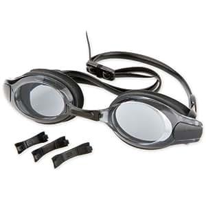 Lunettes de natation de qualité avec verres teintées en grey pour les adultes, noir, revêtement anti-coup, protection UV, avec 4 barrettes de nez échangeables dans les tailles S, M, L, XL (121-129)