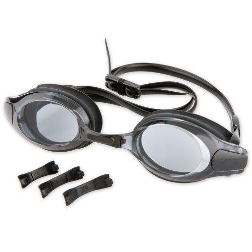 Cadenis Schwimmbrille mit getönte Gläser schwarz mit 4 auswechselbaren Nasenbrücken (Größe S, M, L, XL) (121-129)