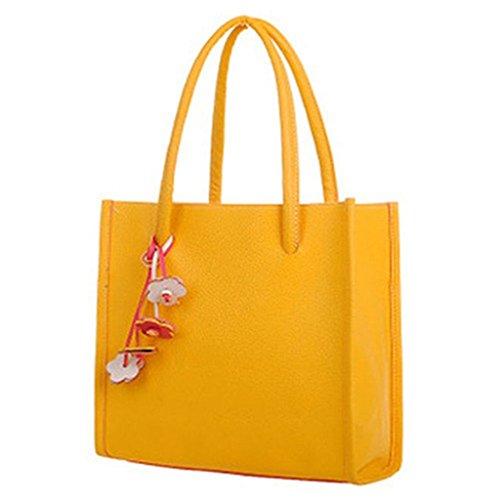 Fueerton Damen Leder Handtasche Mode Schultertasche Shopper Tasche Gelb