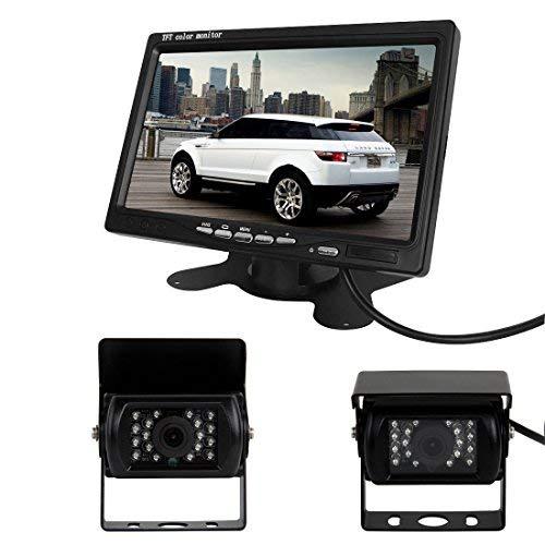 Pathson Auto-Rückfahrkamera für Bus/LKW, 17,8 cm (7 Zoll), LCD-Monitor + 2 Infrarot-Rückfahrkameras mit 18 LEDs Rear View Kamera Monitor