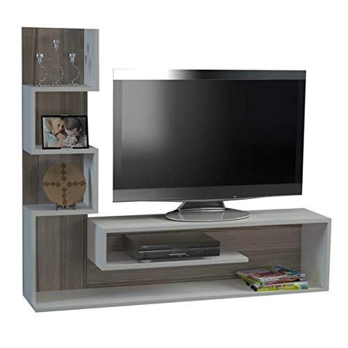 Alphamoebel 2053 Marina Wohnwand Anbauwand Mediawand TV Lowboard modern, Holz, Weiß Cordoba, matt, Regalelement 3 Ablagefächer, 149 x 120 x 29 cm