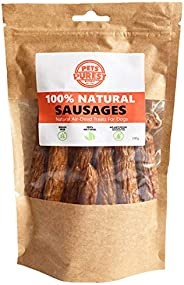 Pets Purest 100% Natural Dog Chews Air-Dried Sausage Treats for Dogs. Just Two Ingredients Pork & Beef. Gr
