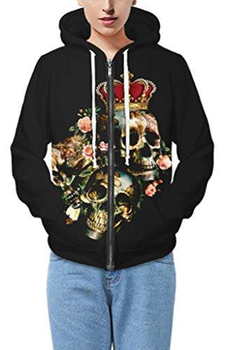 Pretty321 Women Girl Flower Skull Head Crown Zip Fleece Hoodie Sweatshirt Black Amazon