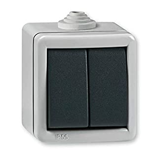 Aufputz Serienschalter 10AX/250V~ / IP 55 (Metallausführung) Grau mit Wippe in Anthrazit