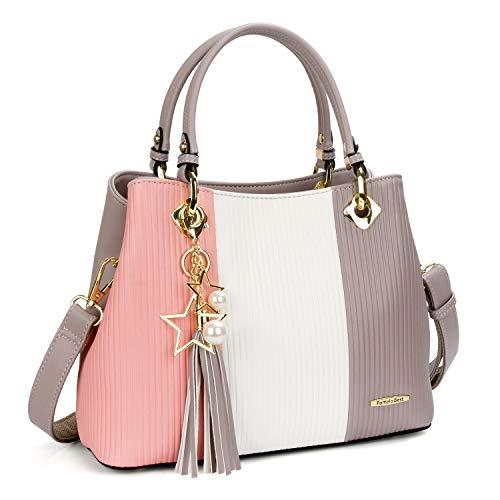 Damen Handtasche Mehrfarbig gestreift Umhängetasche Shopper Tote Henkeltasche (Rosa)