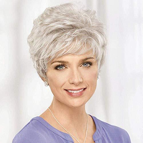 HAIRCUBE Kurze Silber Grau Echthaar Perücken für Frauen Mischung Pixie Cut Perücke Mit Bang Light Weight, Natürliche Täglichen Gebrauch Haar (Farbe 101#) -