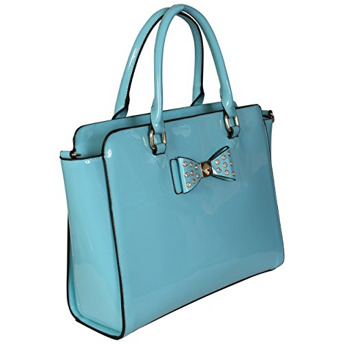 LeahWard® Damen Mode Essener Qualität Patent Bogen Tragetasche Kunstleder Shinny Handtasche mit Gurt CWS00176 CWS00384 CWS00386 Bogen Tasche hellblau