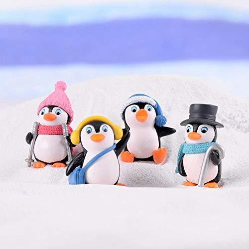 4pcs DIY Crafts Mini penguin winter miniature Christmas figures for fairy garden gnomes moss terrarium decoration 4 pieces As Picture Show