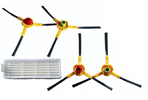 2pares Cepillos laterales y 1pieza filtro de polvo fino para los Ecovacs Deebot Slim, Marvel