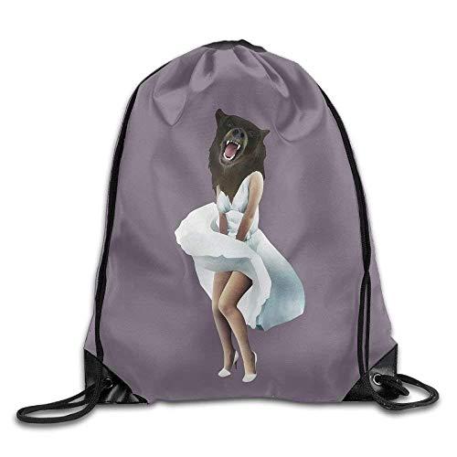 Sporttasche mit Kordelzug, Sportrucksack, Reiserucksack, Monroe Bear Drawstring Backpack Rucksack Shoulder Bags Training Gym Sack for Man and Women -