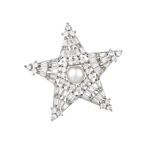 Olydmsky verkupfert Weißgold Diamant Sterne Brosche Kleid mit Brosche Mantel Blazer