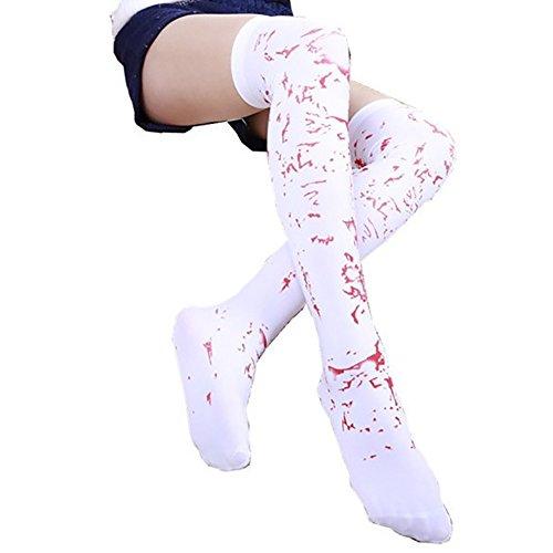 Demarkt Blutige Strumpfhose Blut Damen Strümpfe Weiße Blutige Halterlose Strümpfe Cosplay Socken Halloween ()