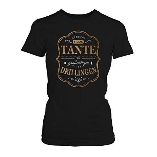 Fashionalarm Damen T-Shirt - Ich bin eine stolze Tante von großartigen Drillingen   Fun Shirt mit Spruch als Geburtstag Geschenk Idee für Patentante Schwarz