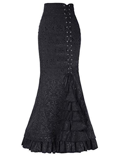 Belle Poque Damen Vintage Retro Viktorianischen Stil Hohe Taile Rüschen Jacquard Fischschwanz Meerjungfrau Langen Rock BP204 Schwarz