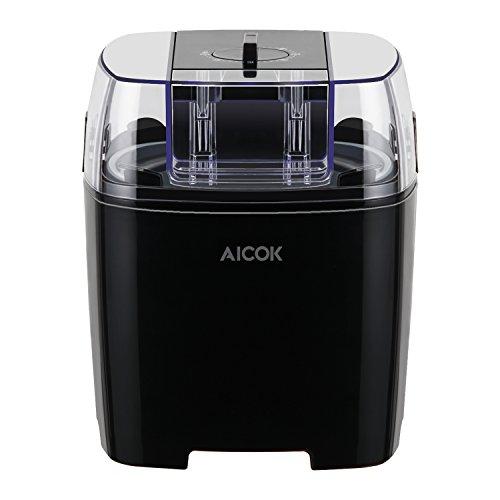 Aicok Maquina de Helados con Temporizador, Maquina Helado de Yogur y Sorbetes con 1.5 Litro, Recetas Incluido, Negro