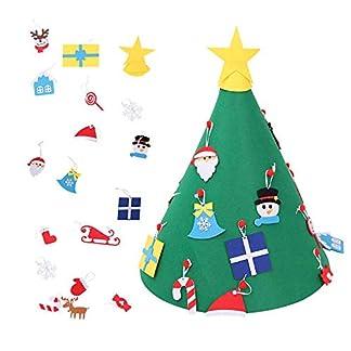 Volwco Árbol de Navidad de Fieltro 3D, árbol de Navidad actualizado con 18 Adornos Colgantes para niños, decoración del hogar, decoración de la Puerta, decoración para Colgar en la Pared