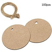 Urtone Etiquetas de regalo redondas de 6 x 6 cm, 100 etiquetas de papel kraft para boda, cumpleaños, equipaje con cordel de yute de 20 metros