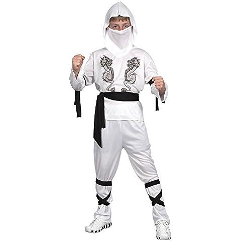 Ridere e coriandoli - Ficina 015 - Costumi per bambini - Costume Little White Drago Ninja - Boy - Taglia L