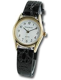 Philip Mercier SML07/A - Reloj analógico de mujer de cuarzo con correa de piel negra