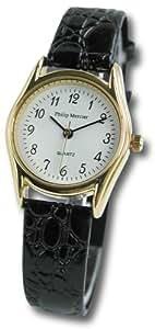 Philip Mercier - SML07/A - Montre Femme - Quartz - Analogique - Bracelet Cuir Noir