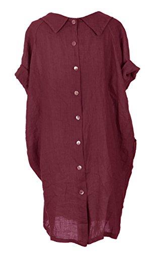 Mesdames Womens Lagenlook italienne manches courtes excentrique ronde collier 2 poche bouton arrière plaine lin robe Taille Plus Noir - Bordeaux