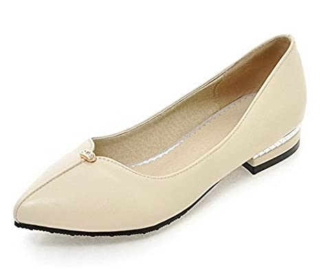 VogueZone009 Women's Low-Heels Soft Material Solid Pull-On Pointed Closed Toe Pumps-Shoes, Beige,