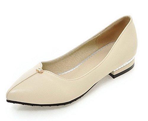 1a4a0ae0c59368 AllhqFashion Damen Weiches Material Spitz Zehe Ziehen Auf Eingelegt Pumps  Schuhe Cremefarben