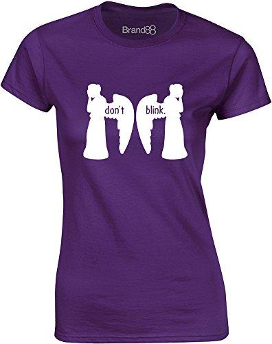 Brand88 - Don't Blink, Gedruckt Frauen T-Shirt Lila/Weiß
