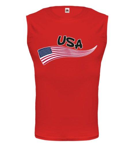buXsbaum® Tank Top USA-Wave Red-z-direct