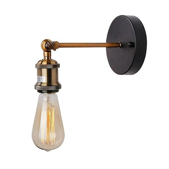 Citra Adjustable Wall Light/Ceiling Fixture Industrial Retro Rustic Loft Antique Wall Lamp Edison Vintage Pipe and Brass Head Wall Sconce Decorative Fixtures Lighting Luminaire (Bulbs not Included)