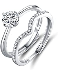 JiangXin 925 Sterling Silver Adjustable Size Women Ring Set, A Traditional Style Halo Solitaire Diamond Engagement Ring and A Curved Wedding Ring Size (from L to R)
